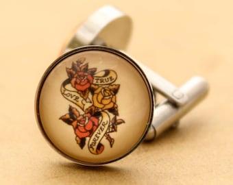 Sailor Jerry Cufflinks - Stainless Steel Mens True Love Forever Nautical Cuff Links Vintage Rockabilly Silver Valentines Groom Wedding