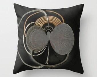 Throw Pillow, Black Space Orb Photo Throw Pillow, Abstract Art, Digital Art, Photo Pillow