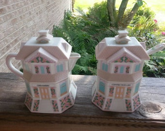 Sweet Lenox Village Creamery and Confectionery Set dated 1990 Lenox Village Creamer and Sugar Bowl Set