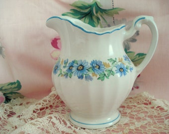Vintage Shabby Creamer Milk Pitcher J G Meakin England Classic White Cottage Chic Blue Floral