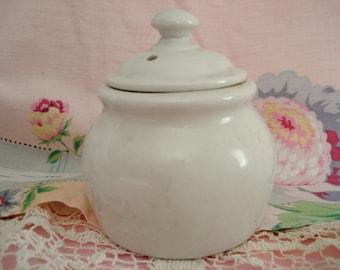 Vintage White Ware Hall Lidded Crock Condiment Jar Cream Ware