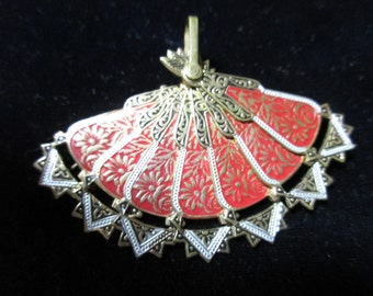 Pin Pendant from Spain of Fan, Very Detailed