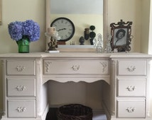 chalk painted french linen and old white secretary desk with