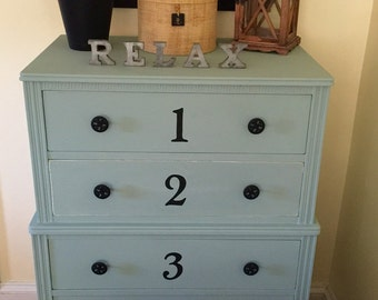 SOLD Vintage Petite Dresser Hand Painted Annie Sloan Duck Egg  Pick Up Only