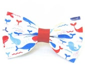 Frolicking Whales Dog Bow Tie