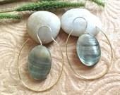 "Bohemian/Tribal Earrings, ""Lux"" Handcrafted, Black MOP Shell, Brass & Sterling, Boho-Chick"