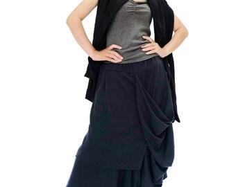 NO.187     Black Cotton Jersey Taxidermy Skirt/Pants, Asymmetric Capri Trousers, Unisex skirt/Pants