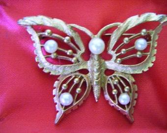 Vintage Mid Century Butterfly Brooch