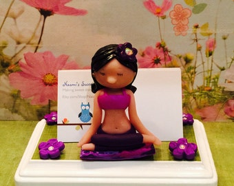 Polymer clay yoga business card holder, Kawaii business card holder, polymer clay flowers, unique business card holder, spa, ooak, Zen girl