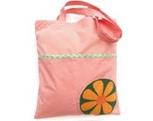 Shopping bag and cotton pouch tote eco bag zipped pouch eco friendly bag orange