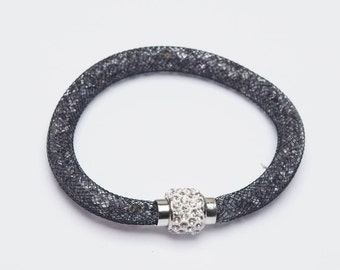 A 7 1/2 inch Black Mesh Bracelet with 3mm Grey Crystals and Magnetic Clasp.