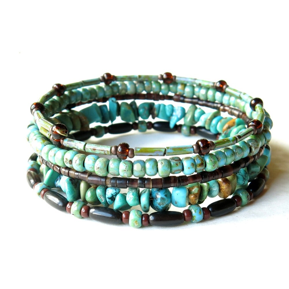 beaded bracelet stack turquoise brown stacking by