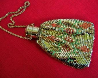 FLAPPER 1920s  Evening Bag  Gold Tone Enameled  Vintage Art Deco Purse Wedding Bridal Gift