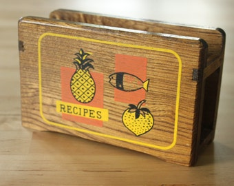 MCM 1960s Open Top Vintage wood RECIPE box, Counter top holder, open top wood recipe box, Japan 1950s 1960s, orange and yellow kitchen