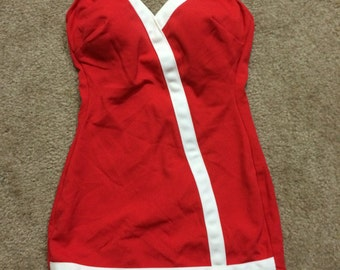 Vintage Red and White 60s Bathing Suit