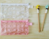 CLEAR PVC zipper pencil case, Pink or White, pencil pouch, pencil bag, glasses case,cosmetic bag,waterproof,vinyl,cute rabbits print - Bunny