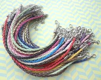 38pcs 3mm 7 -9 inch adjustable assorted(19colors) faux braided leather bracelet with lobster clasp