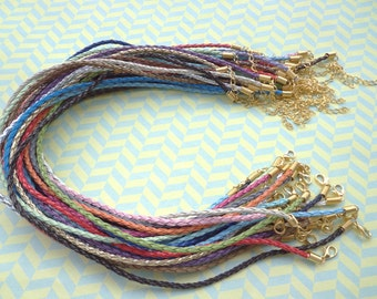 21 PCS  3mm 16-18 inch adjustable assorted color(21 colors) faux braided leather necklace cord with GOLD fittings