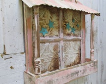 Planter box wall hanging shabby cottage chic ceiling tile w/ salvaged wood up cycled distressed garden and home decor anita spero design