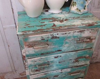 Distressed hand painted dresser vintage wood cottage chic and shabby small wooden chest of drawers home decor anita spero design