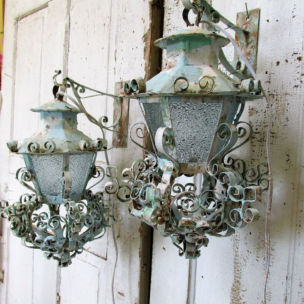 Electric lantern sconces wall lighting painted distressed iron