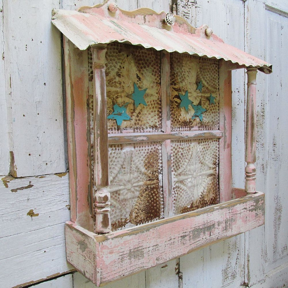 Planter box wall hanging shabby cottage chic ceiling tile w for Shabby chic wall tiles