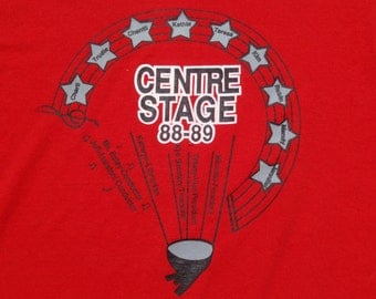 Vintage 1980s '88-89 Centre Stage Red T-Shirt XL 50 50 Cotton Poly Blend Screen Stars Best