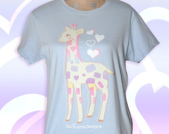 Kawaii Giraffe Shirt Fairy Kei Shirt Pastel Giraffe Cute Giraffe Shirt Size S to 2XL Shiny Heart Periwinkle