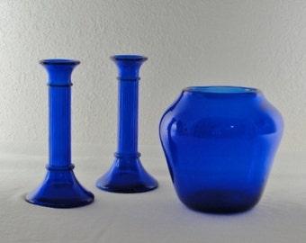 Gorgeous Hand Blown Colbalt Blue Vase and Colbalt Blue Candlesticks