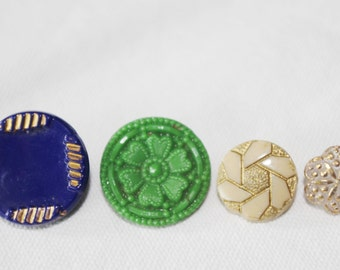 4 Vintage Ornate Glass Buttons 1920s Blue Green Tan Clear