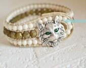 Cat Bracelet, Cat Jewelry, Leather Cat Bracelet, Cuff Bracelets, Boho Cat Jewelry, Cat Lover Gift, Animal Lovers Jewelry, Crazy Cat Lady
