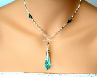 Antique Green Crystal Necklace Swarovski Icicle Crystal Necklace Green Pendant Necklace Teal Green Bridesmaid Necklace Sterling Silver AG36