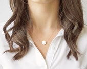 Oceanic Hexagon Necklace (mother of pearl + 14k gold fill chain, gold filled, layering, minimal, modern, geometric)