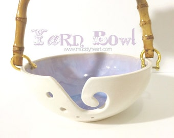 Handle Yarn Bowl Portable Galaxy Purple Blue and White Porcelain Pottery Yarn Keeper Yarn Feeder Knitting Bowl MADE TO ORDER