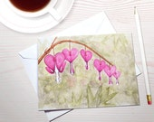 Watercolor stationery, Bleeding Hearts watercolor, floral notecards, gardening stationery, fuchsia flowers, sympathy card, stationery set