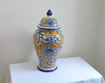 "20"" LARGE Yellow Blue Sunflower Clay Ginger Jar Floor Urn Lid - Folk Majolica Talavera Cottage Chic Mid Century Modern Decor Center Piece"