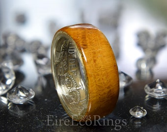 Silver wedding band coin ring with Oak wood