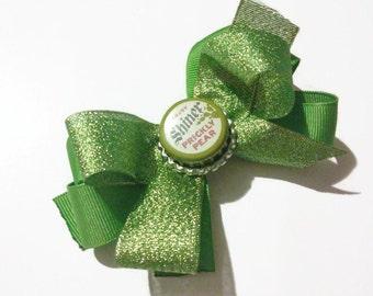 Prickly Pear Shiner Beer Bottlecap Bow, Green bows, Adult bars, Bear bottlecaps, Bottlecap bows, Christmas bows, holiday bows, gag gifts,