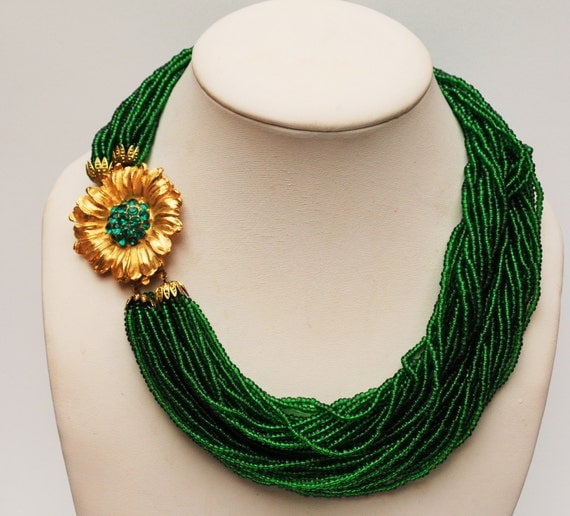 Torsade Necklace: Torsade Necklace Green Glass Seed Bead Gold Rhinestone Flower