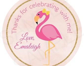 Flamingo Birthday Gift Tags - Printable File
