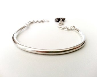 Handmade Sterling Silver Bracelet, Simple and Modern Jewelry Design, Clean Looking Half Bangle with Organic Shape Charm, Everyday wear Gift