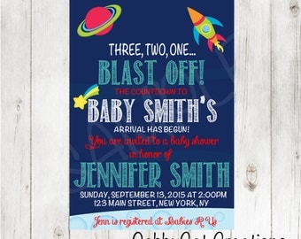 Space Baby Shower Invitation - Baby Shower Invitation / Announcement PDF