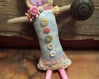 Upcycled Princess Kitten Dolly, vintage buttons, stuffed doll, paper decor face, beads, vintage lace, wool sweater