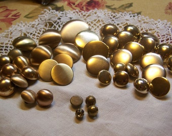 Odd Lot of 42 Vintage Brass & Brass Tone Metal Shank Buttons, Satin and Shiny Finish, Some Sets (1676)