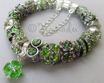 Genuine Pandora Bracelet - Sterling Silver Pandora Bracelet Chain With European Style August Birthstone Peridot Green Rhinestone Beads