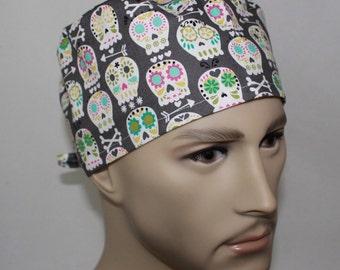 Men's Surgical Scrub Cap Skulls ,Gray