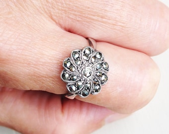 Silver and Marcasite Art Deco Style Ring