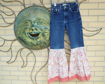 Upcycled Little Girls Gap Bell Bottom Jeans size 8 slim
