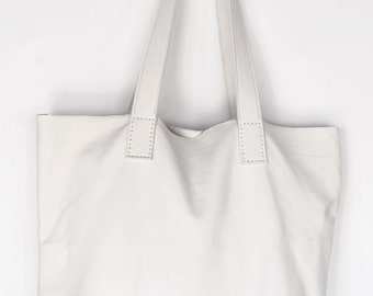 White Deerskin Leather Tote
