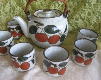 RARE Vintage Otagiri Teapot with 6 Tea or Sake cups Very good .one noted flaw